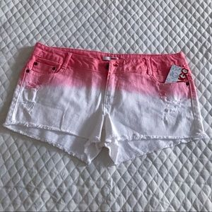 New BONGO Jean Shorts Pink White Tie Dye Ombré 11